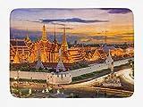 Soefipok Tappetino da Bagno Tailandese, Vista del Tramonto nel Grand Palace Bangkok Architettura Asiatica Antica, Paesaggio Urbano Storico, Arredamento da Bagno in Peluche con Supporto Antiscivolo