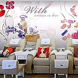 Fushoulu Tamaño Personalizado Foto Moda Pintado A Mano Acuarela Belleza Papel Tapiz Tienda De Manicura Tienda De Cosméticos Papel Tapiz Mural-350X250Cm