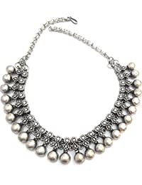 athizay Tribal Necklace Antique Texture oxidised silver metal 14 Inches long ladies fashion jewelry Black Silver Plated Metal Choker athizay