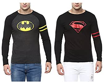 Urbano Fashion Men's Cotton Superhero T-shirt (Black, Small) - Pack of 2