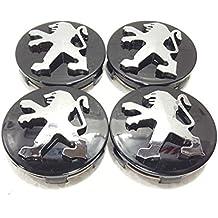 Peugeot negro aleación de rueda center caps conjunto de 4 60 mm para 306,307,206,107,406,407