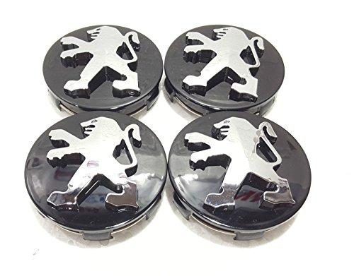 Peugeot Noir de roue en alliage Centre caches Lot de 4 60 mm pour 306,307,206,107,406,407