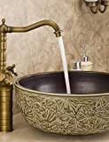 XX&GX Bathroom Countertop Sink Faucet Dual Handles Basin Mixer Tap Antique Brass