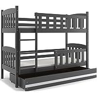 Preisvergleich für Interbeds Etagenbett Quba 190x80 mit Matratzen, Lattenroste und Schublade, Farbe: WEIβ, GRAU, Erle und Kiefer (grau + weiβ)