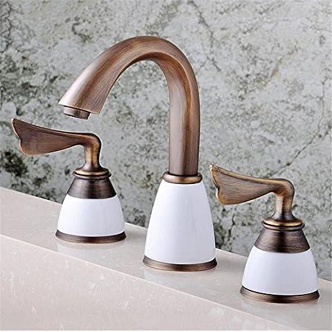 XUEQIANG High-end di rubinetti Europeo classic antichi seduto doppie maniglie tre fori acqua calda e fredda lavabo rubinetto