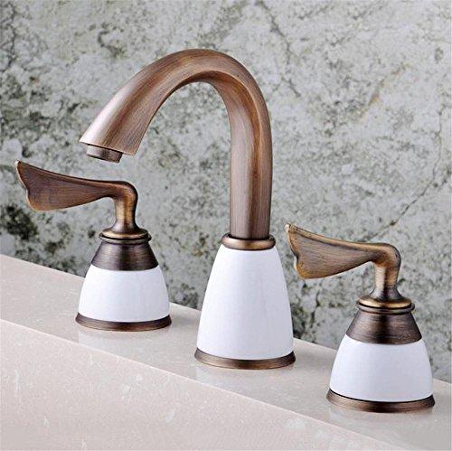 BBSLT Unione, classico e antico, seduto, doppie maniglie, tre fori, acqua calda e fredda, lavabo rubinetto