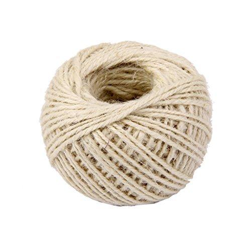 tia-ve 1 rouleau 50 m cordage chanvre pour cadeau Corde en chanvre ficelle (Blanc)