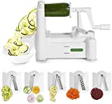 Spiralizer 5-Blade Vegetable Slicer, Strongest-and-Heaviest Duty, Best Veggie Pasta & Spaghetti Maker for Low Carb/Paleo/Gluten-Free Meals, With 3 Exclusive Recipe eBooks