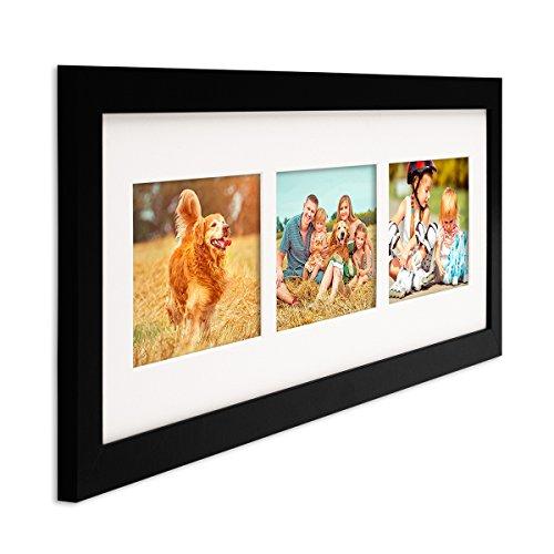Photolini Fotocollage-Bilderrahmen Modern Schwarz aus MDF Collagerahmen Bildergalerie-Rahmen für 3 Bilder 10x15 cm Wechselrahmen mit - Mehrfach-bilderrahmen Horizontale