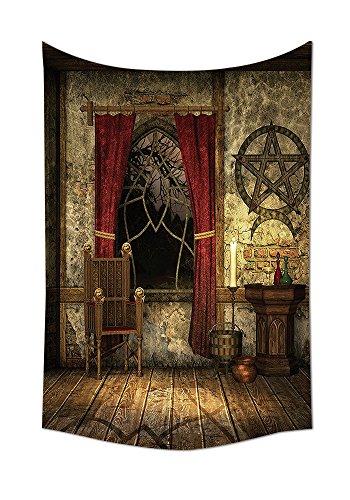 ollektion Pentagramm Symbol in Kerzenlicht Rot Gardine in Mystical Mittelalter Kammer Spirituelle Schlafzimmer Wohnzimmer Wohnheim Wand Gobelin Braun, multi, 8W By 10L Inch (Großhandel Disney Stoff)