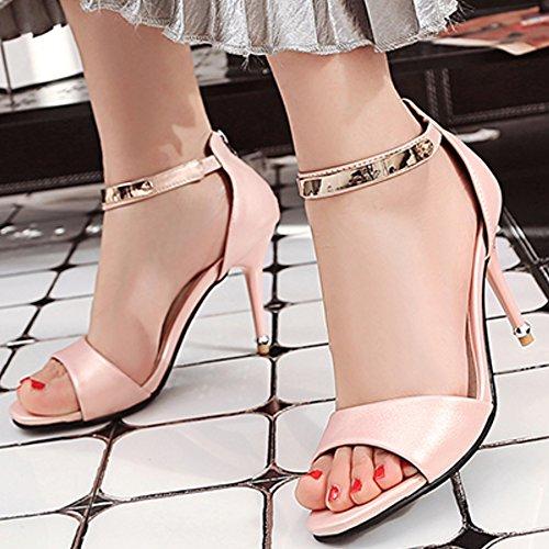 TAOFFEN Femmes Peep Toe Sandales Mode Aiguille Talons Hauts Sangle De Cheville Fermeture Eclair Chaussures Rose