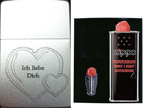 149635 Zippo Feuerzeug mit Gravur Ich liebe Dich im Herz Geschenk Set