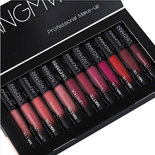 Lippenstift Lipgloss 12 Farben Lippenstift Set, wasserdicht Matte Nude Liquid Lipstick Schönheit...