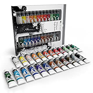 Acrylic Paint Set for Beginners, Students or Artists - A Perfect Mix of Quality and Versatility - Vivid Colours - Easy to Blend and Good Coverage on Paper, Canvas, Wood or Fabric - Not Too Thick for Great Flexibility - 100% Satisfaction Money Back Guarantee (24 piece set (24 different colours))