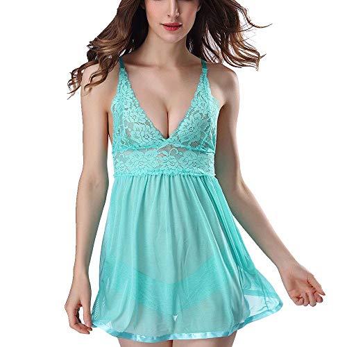 Lolamber Damen Dessous Babydoll Lace Bow Kleid Nachtwäsche G-String Nachtwäsche