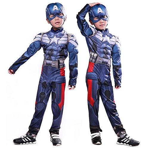 Lydia's Anime Cosplay Kleidung Kind Captain America Cosplay Kostüm The Avengers Hero Muskel Kleidung 3D Digitaldruck Enge Weihnachten Halloween Kostüm - Muskel Avengers Captain America Kostüm