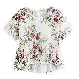 Lazzboy T-Shirt da Donna a Fiori con Stampa Floreale e Orlo a Maniche Corte Top Taglia 40-48 Slouch Beach Blouse(M(42),Bianca)
