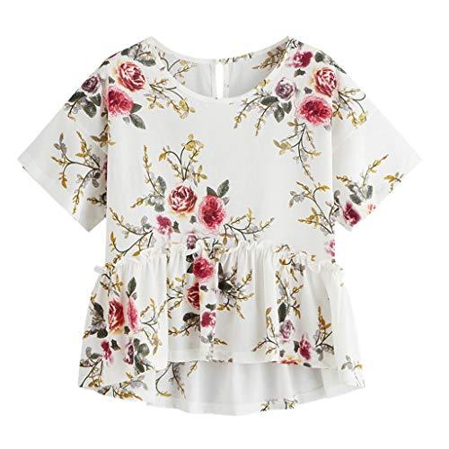 Damen Blumendruck Weicher Chiffon Falten Tanktops Tops, JMETRIC Mode Bequem Kurzarm Oberteil Kurzen Ärmels Shirts(Weiß-1,L)