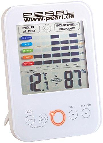 PEARL Luftfeuchtigkeitsmesser: Digital-Hygrometer/Thermometer mit Schimmel-Alarm und LCD-Display (Hygrometer mit Schimmelalarm)