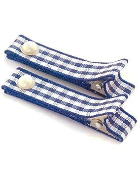 1 Paar hochwertige Haarspangen dunkelblau kariert - mit Stoff bezogen - KEIN ZIEPEN - Viele Variantionen - Made...