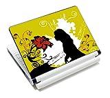 Luxburg® Design Aufkleber Schutzfolie Skin Sticker für Notebook Laptop 10 / 12 / 13 / 14 / 15 Zoll, Motiv: Frau am Klavier
