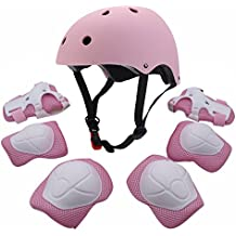 Conjunto protector para jóvenes, equipo deportivo con codera, rodillera, muñequera, almohadilla de seguridad; protector para patinar, bicicleta, BMX, monopatín, aeropatín, actividades al aire libre, rosa