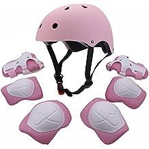 Conjunto protector para niños jóvenes, equipo deportivo con casco codo, rodillera, muñequera, almohadilla de seguridad, protector para patinar, bicicleta, bicicleta BMX, monopatín, aeropatín, actividades al aire libre, rosa