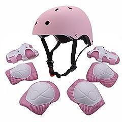 Idea Regalo - Set di attrezzature sportive protettive per bambini, comprende casco, gomitiere, ginocchiere e polsiere di sicurezza imbottite, ideali per pattini, bicicletta, bici BMX, skateboard, hoverboard e attività all'aperto, Pink