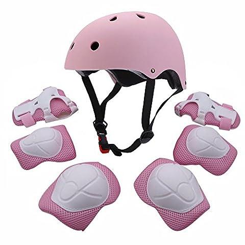 Ensemble de protections de sport pour enfant avec casque, protections de coudes, genouillères, protèges-poignets pour roller, vélo, BMX, skateboard et autres activités d'extérieur, rose