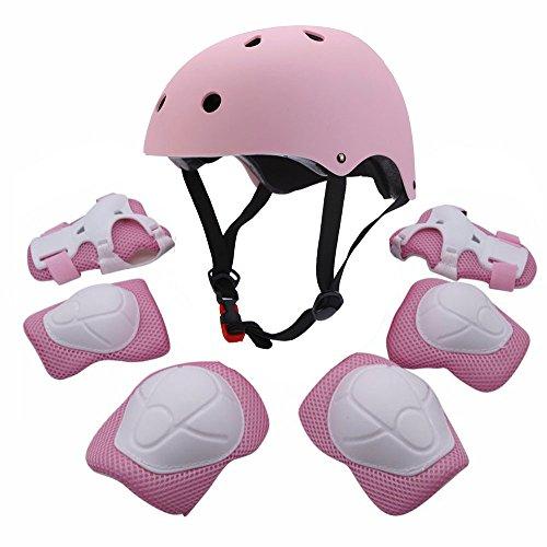 Set di attrezzature sportive protettive per bambini, comprende casco, gomitiere, ginocchiere e polsiere di sicurezza imbottite, ideali per pattini, bicicletta, bici BMX, skateboard, e attività all'aperto, Pink