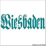 cartattoo4you AK-01649   WIESBADEN - Fraktur / Altdeutsche Schrift   Autoaufkleber Aufkleber FARBE petrol , in 23 weiteren Farben erhältlich , glänzend 17 x 5 cm in PREMIUM - Qualität Waschstrassenfest VERSANDKOSTENFREI