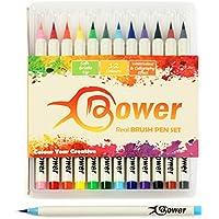 Bower - Real - Set de 12 rotuladores con pincel de efecto acuarela - Con puntas de pincel - Para caligrafía y dibujo - Se pueden mezclar