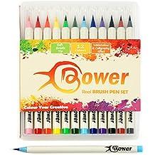 Bower set da 12 pennarelli brush - per calligrafia, manga - effetto acquerello, vere punte a pennello, alta qualità, fumetti, mescolabili, lettering stile giapponese