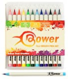 Bower Brush Pens 12 Set For Artists - Calligraphy Ink Colours Great For Manga, Adult Colouring, Designers Bristle Tip Markers, Create Watercolour Effects, Comic Book Art, 2 sizes available