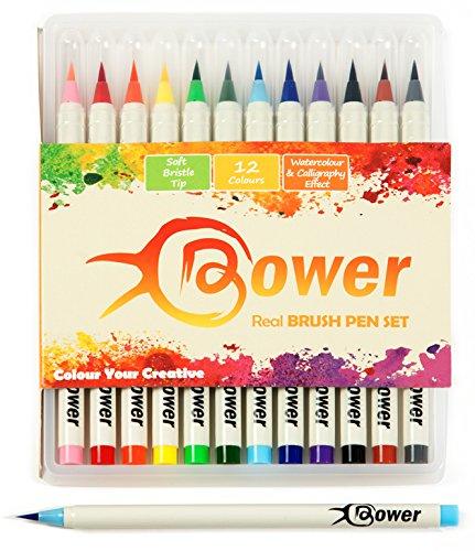 12-er Pinselstift-Set von Bower für Künstler – Kalligraphie-Tintenfarben ideal geeignet für Manga-Zeichnungen, zum Ausmalen von Erwachsenenmalbüchern, als Designer-Stift mit Borstenspitze, für Aquarellzeichnungseffekte, für künstlerische Arbeiten im Comic-Stil usw.; vVerfügbar in 2 Größen.