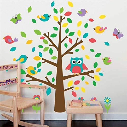 XCGZ Wandsticker Niedliche Eulen Vögel Baum Wandaufkleber Kinder Spielzimmer Dekoration Kindergarten Cartoon Kinder Baby Home Decals Tier Mural Art (Decals Kinder-spielzimmer)