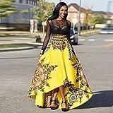 VECDY Women's Dresses, Clearance-New African Women Retro Printed Summer Boho Long Dress Beach Evening Party Maxi Skirt(Yellow,UK 10-12)