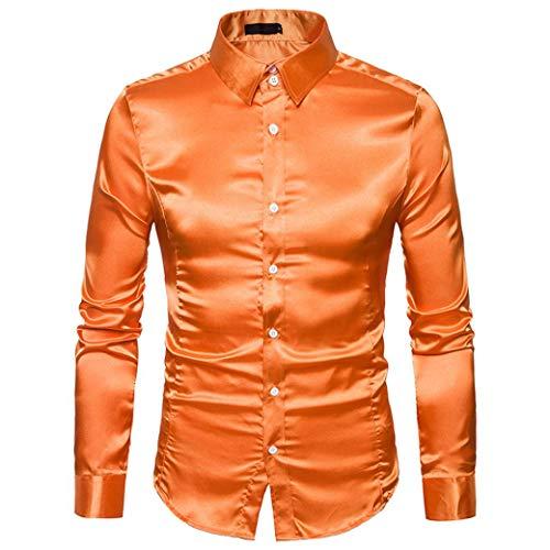 Herren Hemd Langarmshirt Vintage Glänzendes Mode Metallic Glänzend Glitzer Schlank Fit Shirt für Nightclub Party Tanzen Disco Halloween Cosplay Kostüm(Orange, EU-50 / ()