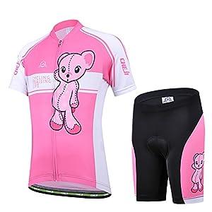 51ObZbCUgDL. SS300 Free Fisher -Set di Maglia Ciclismo per Bambino (Maglia Bici a Manica Corta + Pantaloncini con Imbottitura)