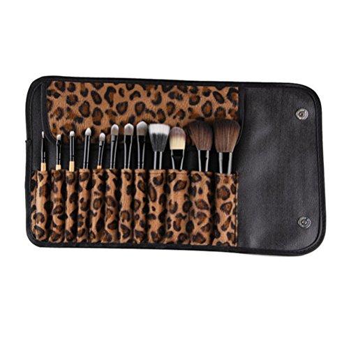 yingman Lot de 12 pinceaux Pro pinceaux de maquillage (Leopard) Crayon à sourcils Crayon à lèvres africaine et avec un sac cosmétique