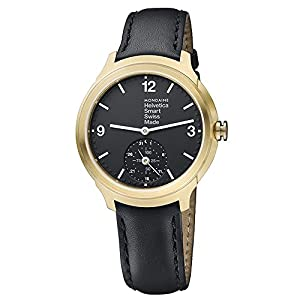 Mondaine Helvetica Smart Watch Women's/ Men's Watch, IP Gold Plated, Black Leahter Strap, App with Coaching Function iOS / Andorid
