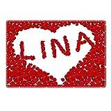 Tischset mit Namen ''Lina'' Motiv Rosenherz - Tischunterlage, Platzset, Platzdeckchen, Platzunterlage, Namenstischset