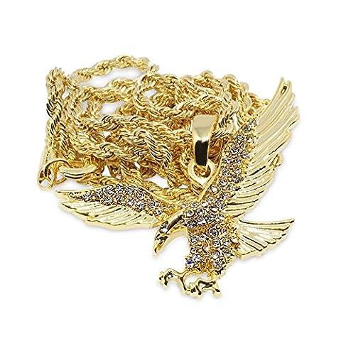 Premium 14K vergoldet Iced Out Eagle Hip Hop Bling Anhänger Kette Halskette