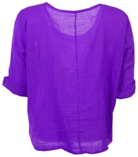 Femmes italienne Quirky Lagenlook lin uni Comfy Casual Mesdames Blouse Crop Top Tailles Plus Violet