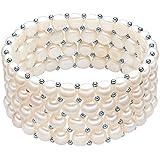 Valero Pearls Classic Collection Damen-Armband elastisch Hochwertige Süßwasser-Zuchtperlen in ca.  6 mm Button weiß 925 Sterling Silber    19 cm   60201668
