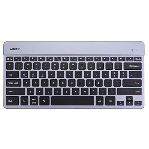 AUKEY Bluetooth Tastatur QWERTY Ultra Dünner Aluminiumlegierung Wireless Keyboard Wiederaufladbar für iOS, Windows und Android Geräte