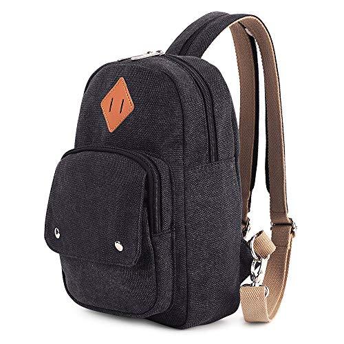 HITOP Herren Mini-Rucksack-Geldbeutel Leichte Brust Sling Umhängetasche Daypack klein schwarz Mini Sling Rucksack