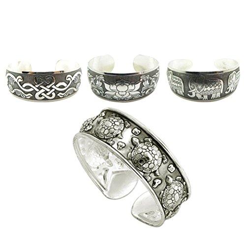 Chinesische Pfirsich (Youger 4 Stück Tibetanisches Silber Armband Schildkröte Elefant Pfirsich chinesische Knoten Armband 4 Stile)