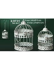 DonRegaloWeb - Set de 2 jaulas redondas de metal decoradas con diferentes dibujos en color blanco