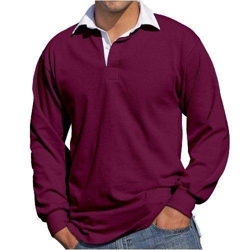 Front Row - Herren Männer Langärmeliges Rugby Shirt - XXL, Weinrot (Männer Rugby)
